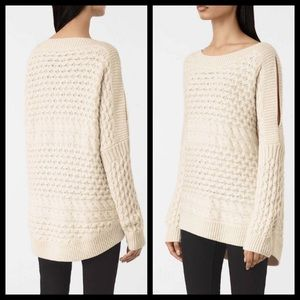 All Saints Wool Cashmere Chunky Cable Knit Sweater